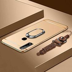 Coque Bumper Luxe Metal et Plastique Etui Housse avec Support Bague Anneau A01 pour Oppo A8 Or