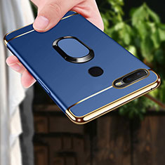 Coque Bumper Luxe Metal et Plastique Etui Housse avec Support Bague Anneau A01 pour Oppo AX7 Bleu
