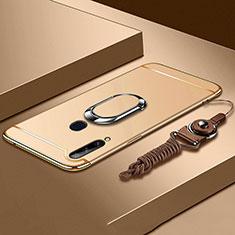 Coque Bumper Luxe Metal et Plastique Etui Housse avec Support Bague Anneau A01 pour Samsung Galaxy A20s Or