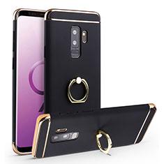 Coque Bumper Luxe Metal et Plastique Etui Housse avec Support Bague Anneau A01 pour Samsung Galaxy S9 Plus Noir