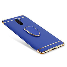 Coque Bumper Luxe Metal et Plastique Etui Housse avec Support Bague Anneau A01 pour Xiaomi Pocophone F1 Bleu