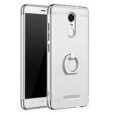 Coque Bumper Luxe Metal et Plastique Etui Housse avec Support Bague Anneau A01 pour Xiaomi Redmi Note 3 Pro Argent