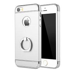 Coque Bumper Luxe Metal et Plastique Etui Housse avec Support Bague Anneau A02 pour Apple iPhone 5 Argent