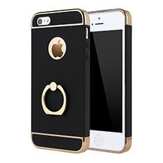 Coque Bumper Luxe Metal et Plastique Etui Housse avec Support Bague Anneau A02 pour Apple iPhone 5S Noir
