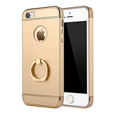 Coque Bumper Luxe Metal et Plastique Etui Housse avec Support Bague Anneau A02 pour Apple iPhone 5S Or