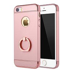 Coque Bumper Luxe Metal et Plastique Etui Housse avec Support Bague Anneau A02 pour Apple iPhone 5S Rose