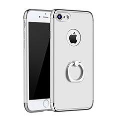 Coque Bumper Luxe Metal et Plastique Etui Housse avec Support Bague Anneau A02 pour Apple iPhone 8 Argent