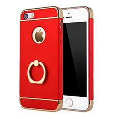 Coque Bumper Luxe Metal et Plastique Etui Housse avec Support Bague Anneau A02 pour Apple iPhone SE Rouge