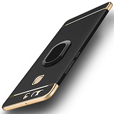 Coque Bumper Luxe Metal et Plastique Etui Housse avec Support Bague Anneau A02 pour Huawei P9 Noir