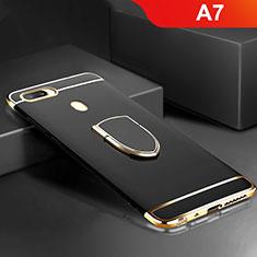 Coque Bumper Luxe Metal et Plastique Etui Housse avec Support Bague Anneau A02 pour Oppo A7 Noir