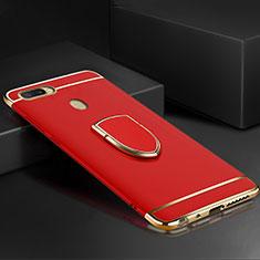 Coque Bumper Luxe Metal et Plastique Etui Housse avec Support Bague Anneau A02 pour Oppo A7 Rouge