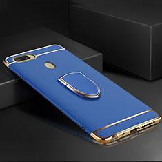 Coque Bumper Luxe Metal et Plastique Etui Housse avec Support Bague Anneau A02 pour Oppo AX7 Bleu