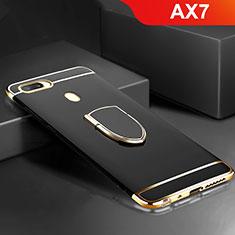 Coque Bumper Luxe Metal et Plastique Etui Housse avec Support Bague Anneau A02 pour Oppo AX7 Noir