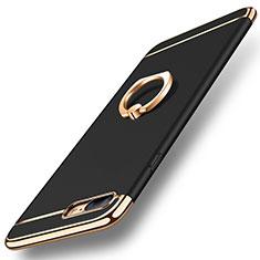 Coque Bumper Luxe Metal et Plastique Etui Housse avec Support Bague Anneau A06 pour Apple iPhone 7 Plus Noir