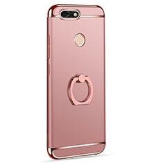 Coque Bumper Luxe Metal et Plastique Etui Housse avec Support Bague Anneau A06 pour Huawei Enjoy 7 Or Rose