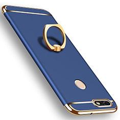 Coque Bumper Luxe Metal et Plastique Etui Housse avec Support Bague Anneau A06 pour Huawei P9 Lite Mini Bleu