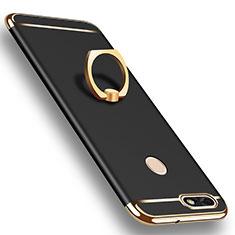 Coque Bumper Luxe Metal et Plastique Etui Housse avec Support Bague Anneau A06 pour Huawei P9 Lite Mini Noir