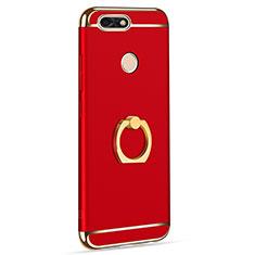 Coque Bumper Luxe Metal et Plastique Etui Housse avec Support Bague Anneau A06 pour Huawei Y6 Pro (2017) Rouge