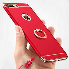 Coque Bumper Luxe Metal et Plastique Etui Housse avec Support Bague Anneau et Laniere A01 pour Apple iPhone 8 Plus Rouge