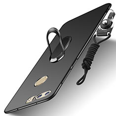 Coque Bumper Luxe Metal et Plastique Etui Housse avec Support Bague Anneau et Laniere A01 pour Huawei Honor 8 Noir