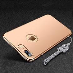 Coque Bumper Luxe Metal et Plastique Etui Housse avec Support Bague Anneau et Laniere pour Apple iPhone 7 Plus Or