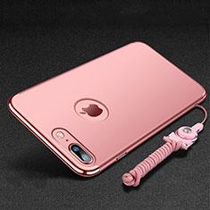 Coque Bumper Luxe Metal et Plastique Etui Housse avec Support Bague Anneau et Laniere pour Apple iPhone 7 Plus Or Rose