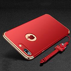Coque Bumper Luxe Metal et Plastique Etui Housse avec Support Bague Anneau et Laniere pour Apple iPhone 7 Plus Rouge