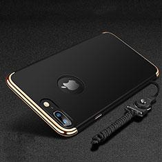 Coque Bumper Luxe Metal et Plastique Etui Housse avec Support Bague Anneau et Laniere pour Apple iPhone 8 Plus Noir