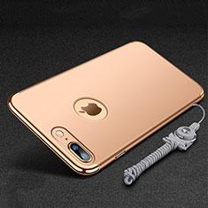Coque Bumper Luxe Metal et Plastique Etui Housse avec Support Bague Anneau et Laniere pour Apple iPhone 8 Plus Or