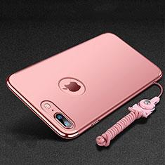 Coque Bumper Luxe Metal et Plastique Etui Housse avec Support Bague Anneau et Laniere pour Apple iPhone 8 Plus Or Rose
