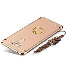 Coque Bumper Luxe Metal et Plastique Etui Housse avec Support Bague Anneau et Laniere pour Huawei Enjoy 6S Or