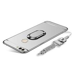 Coque Bumper Luxe Metal et Plastique Etui Housse avec Support Bague Anneau et Laniere pour Huawei Enjoy 8 Plus Argent