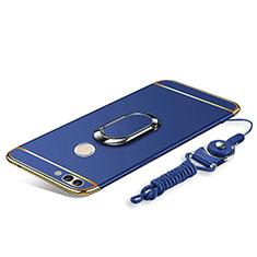 Coque Bumper Luxe Metal et Plastique Etui Housse avec Support Bague Anneau et Laniere pour Huawei Enjoy 8 Plus Bleu