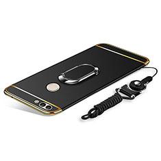 Coque Bumper Luxe Metal et Plastique Etui Housse avec Support Bague Anneau et Laniere pour Huawei Enjoy 8 Plus Noir