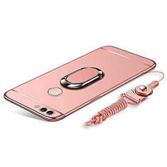 Coque Bumper Luxe Metal et Plastique Etui Housse avec Support Bague Anneau et Laniere pour Huawei Enjoy 8 Plus Or Rose