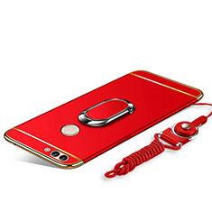 Coque Bumper Luxe Metal et Plastique Etui Housse avec Support Bague Anneau et Laniere pour Huawei Enjoy 8 Plus Rouge