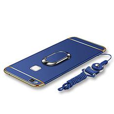 Coque Bumper Luxe Metal et Plastique Etui Housse avec Support Bague Anneau et Laniere pour Huawei G9 Lite Bleu