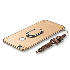 Coque Bumper Luxe Metal et Plastique Etui Housse avec Support Bague Anneau et Laniere pour Huawei G9 Lite Or