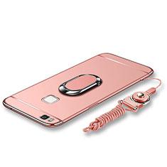 Coque Bumper Luxe Metal et Plastique Etui Housse avec Support Bague Anneau et Laniere pour Huawei G9 Lite Or Rose