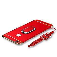 Coque Bumper Luxe Metal et Plastique Etui Housse avec Support Bague Anneau et Laniere pour Huawei G9 Lite Rouge