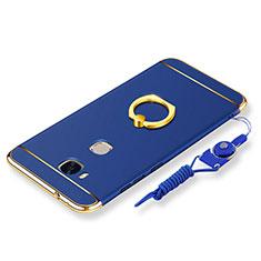 Coque Bumper Luxe Metal et Plastique Etui Housse avec Support Bague Anneau et Laniere pour Huawei GR5 Bleu