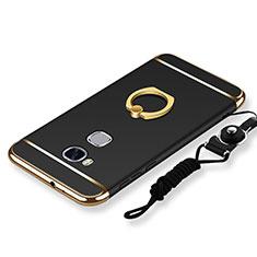 Coque Bumper Luxe Metal et Plastique Etui Housse avec Support Bague Anneau et Laniere pour Huawei GR5 Noir