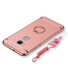 Coque Bumper Luxe Metal et Plastique Etui Housse avec Support Bague Anneau et Laniere pour Huawei GR5 Or Rose