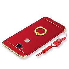 Coque Bumper Luxe Metal et Plastique Etui Housse avec Support Bague Anneau et Laniere pour Huawei GR5 Rouge