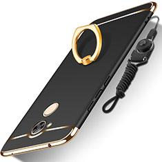 Coque Bumper Luxe Metal et Plastique Etui Housse avec Support Bague Anneau et Laniere pour Huawei Honor 6A Noir