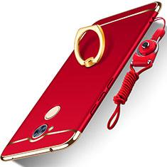 Coque Bumper Luxe Metal et Plastique Etui Housse avec Support Bague Anneau et Laniere pour Huawei Honor 6A Rouge