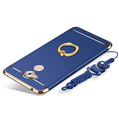 Coque Bumper Luxe Metal et Plastique Etui Housse avec Support Bague Anneau et Laniere pour Huawei Honor 6C Bleu