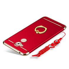 Coque Bumper Luxe Metal et Plastique Etui Housse avec Support Bague Anneau et Laniere pour Huawei Honor 6C Rouge