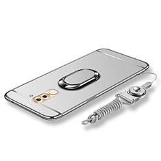 Coque Bumper Luxe Metal et Plastique Etui Housse avec Support Bague Anneau et Laniere pour Huawei Honor 6X Pro Argent