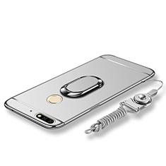 Coque Bumper Luxe Metal et Plastique Etui Housse avec Support Bague Anneau et Laniere pour Huawei Honor 7C Argent